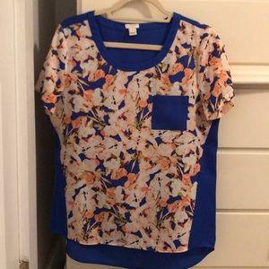 Silk Blue & Pinks Floral Blouse